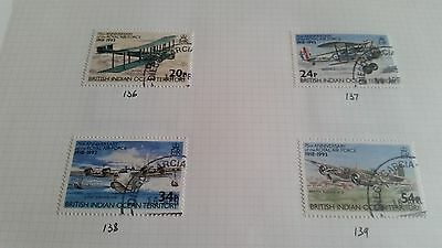 British Indian Ocean Territory 1993Sg 136-139 75Th Anniv Of Royal Air Force Used