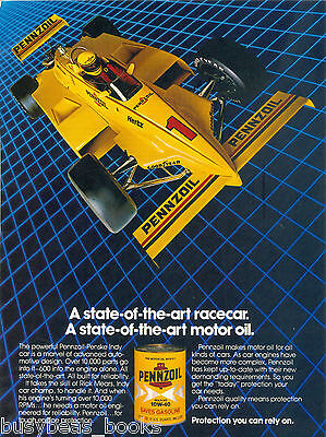 1982 PENNZOIL advertisement, Indy race car, motor oil tin