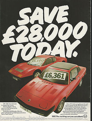 1980 TRIUMPH TR7 advertisement, British advert, with Ferrari 512