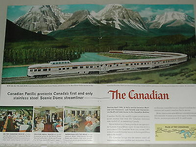 1955 Canadian Pacific Railway 2-page advertisement, new The Canadian train cars