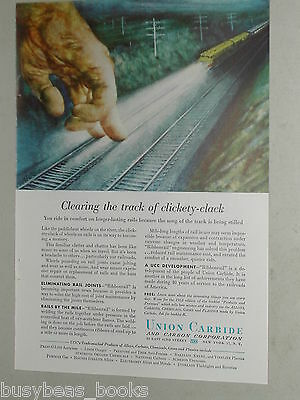 1952 Union Carbide ad, Ribbonrail, welded RR track