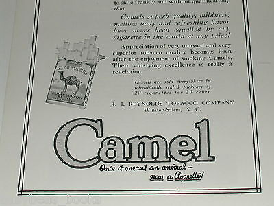 1920 Camel Cigarettes advertisement, R.J. Reynolds, NC, tobacco