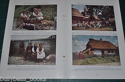 1935 photo article, POLAND, 16 color photos, people, costumes, minimal text