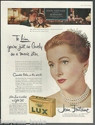 1956 LUX SOAP advertisement, with movie star Joan Fontaine, large size advert