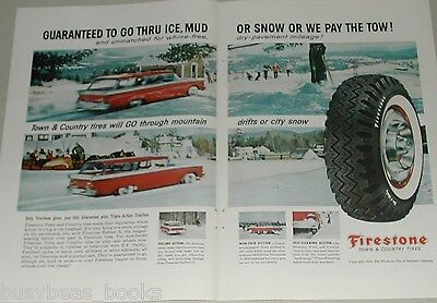 1959 Firestone Tire 2-page ad, Town & Country Tires