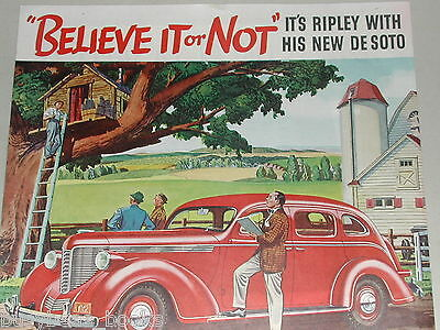 1938 DeSoto advertisement page, with Bob Ripley of Ripley's Believe It or Not