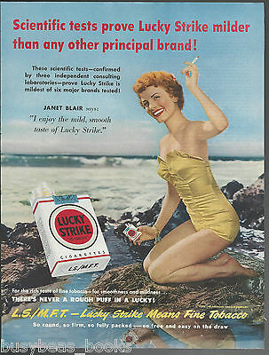 1950 LUCKY STRIKE Cigarettes advertisement, actress JANET BLAIR large size advet