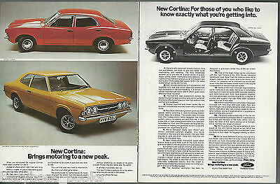 1971 Ford Cortina 2-page advertisement, + road test article, British Ford