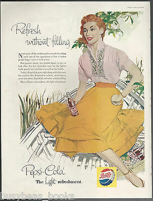 1956 PEPSI advertisement, red-head lady in a boat, Pepsi-Cola large size advert