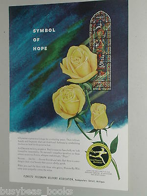 1954 FTD Florist ad, Yellow Roses Flowers Stained Glass