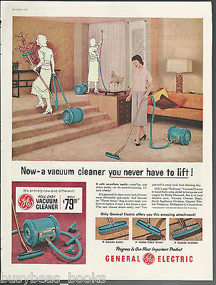 1955 GE ROLL-EASY Vacuum cleaner advertisement retro cylindrical vacuum large ad