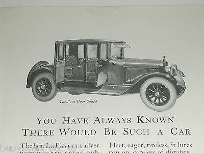 1921 LaFayette advertisement, LaFayette Motors Company, 4-door Coupe