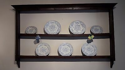 Fabulous 18th C antique hanging Oak Delft Rack/Dresser Plate Rack.  iron hooks