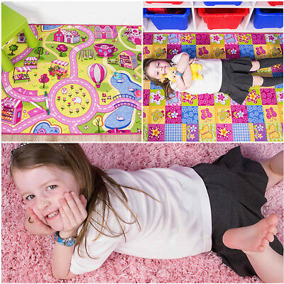 Girls Play Rugs Children's Pink Small Large Cheap Mats Kids Bedroom Playroom Mat