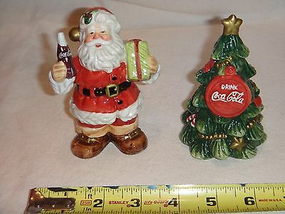 2001 Coca Cola Salt and Pepper Shakers Santa and Christmas Tree
