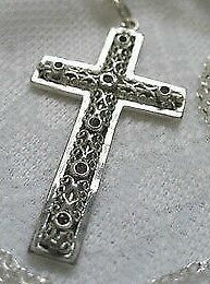 New Beautiful Large Sterling Silver Cross and Chain - Amethyst