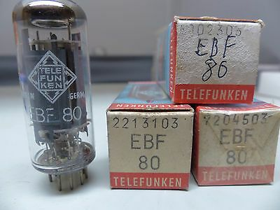 3x EBF80-Telefunken-RÖHRE-TUBE-sealed -NOS-IN-BOX unused Valvola