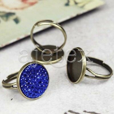 5pcs Round Vintage Ring Mountings Antique Brass Jewellery Findings 21mm/20mm