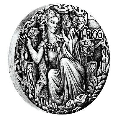 FRIGG NORSE GODDESSES 2oz High Relief silver coin antiqued Tuvalu 2017