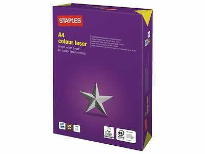 Staples Colour Laser 1250 Sheets 1 Box  5 Reams A4 White Paper 120 Gsm +Free 24H