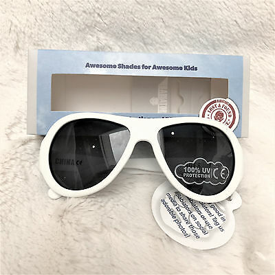 Babiators Aviators Sun Glasses, 0-2 years old, White, 100% UV protection