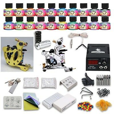 Complete Tattoo Kit 2 Professional Machines 20 Color USA Inks Power Supply Set