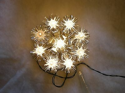 Vintage Christmas  Lights - 9 Lite Tinsel Pompom Tree Top IOB