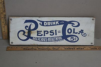 Rare Vintage Drink Pepsi Cola Painted Wood Sign Soda Pop Coke Texas Fountain 66