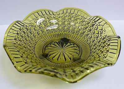 """Vintage Olive Green Pressed Glass Footed Dish 8"""""""