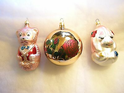 Vintage Glass Christmas Ornaments - Three Colombian Ornaments