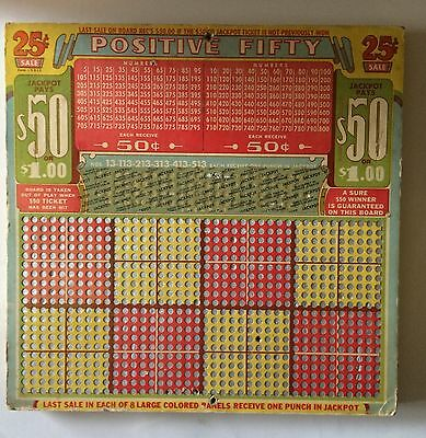 Positive Fifty Trade Stimulator Punchboard Vintage 1930s Gambling Bar Man Cave