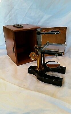 Antique Bausch & Lomb Brass Optical Microscope w/Original Case