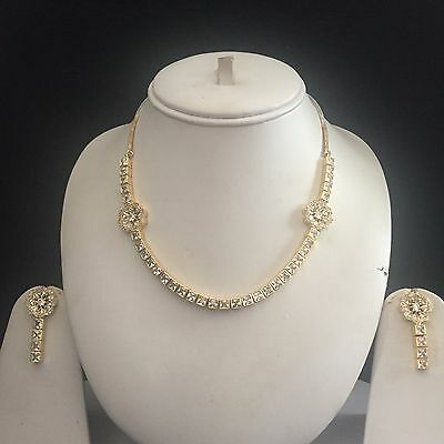 Clear Gold Costume Jewellery Necklace Earrings American Diamond Set Bridal New 5