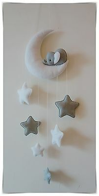 Sleepy elephant Moon and stars nursery decor ( silver grey, white )