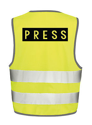 Press High Visibility Vest Safety Tabbard Waistcoat Viz Papers News Reporting