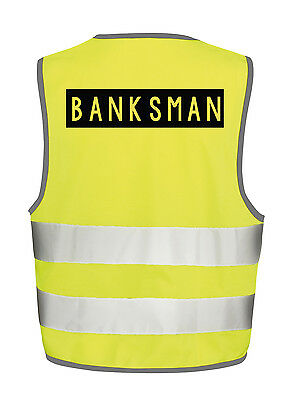 Banksman Hi Visibility Vest Safety Tabbard Waistcoat Crane Vehicle Movement