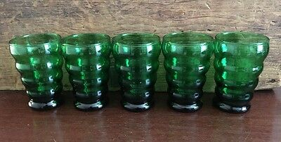 Anchor Hocking Forest Green Whirly Twirly 5 oz Flat Tumbler Set of 5 Lot 13