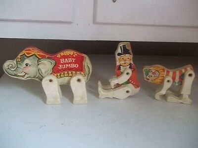 Vintage 1962 Fisher-Price Circus Ring BABY JUMBO CLOWN RING LEADER