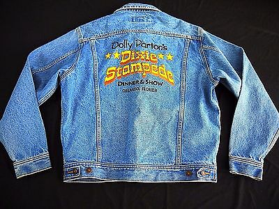 VINTAGE DOLLY PARTON Dixie Stampede DENIM M trucker jean RARE cast womens jacket