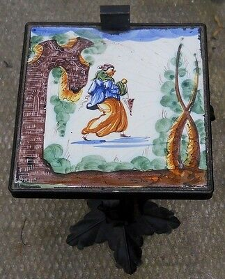 Spanish Mission Tile Wrought Iron Table Stand Arts & Crafts Mid Century Modern