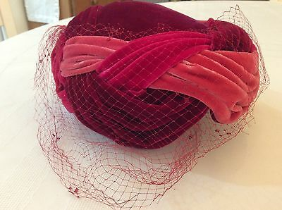 Vintage Abraham & Strauss Women's Pink  Velvet Headpiece Netting Hat