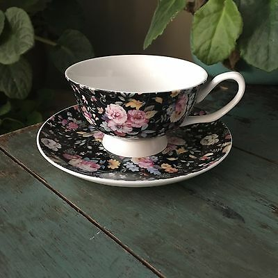 New Gracie China Stechcol Victorian Garden  Chintz Floral Cup And Saucer