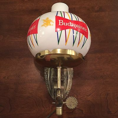 Vintage Budweiser Beer Lighted Wall Sconce Classic Bow Tie on Milk Glass Globe