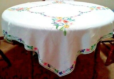"""Bright mulitcolor tablecloth floral hand embroidery linen 50"""" square vintage"""