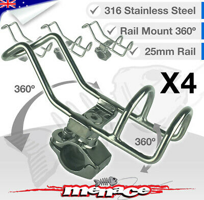 4x 316 Stainless Steel Rail Mount Rod Holder Double Wire Fishing Boat Kayak 25mm