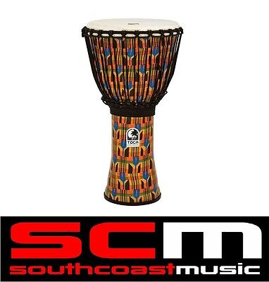 "Toca Kente Print Djembe Hand Drum 10"" Inch Rope Tuned Synthetic Lightweight New!"