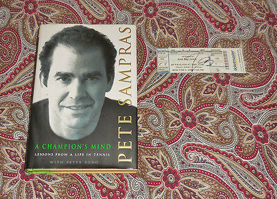 Pete Sampras - A Champions Mind - Signed First Edition With Signed Sap Open Tick