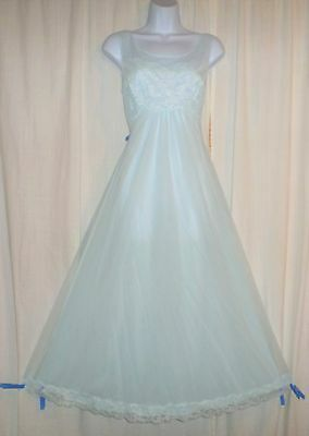 Vtg Blue Shadowline double layer w sheer chiffon lace nightgown negligee M