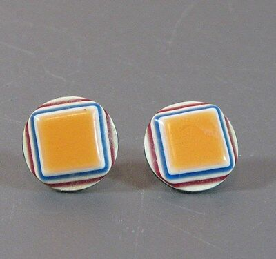 "Vintage round pierced earrings with Laminated layers Geometric shape 5/8"" inches"