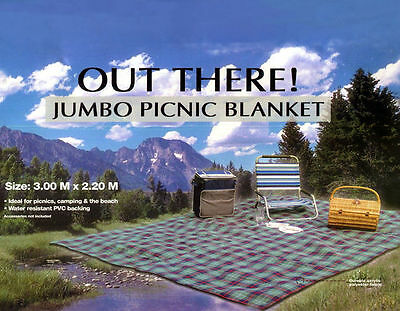 LARGE JUMBO PICNIC BLANKET 3 Metre X 2.2m LIGHT BLUE OUT THERE Camping Beach Mat